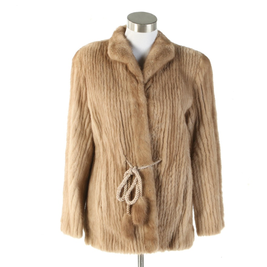 Corded Mink Fur Jacket with Waist Tie from Fettner Friedman Furs, Vintage