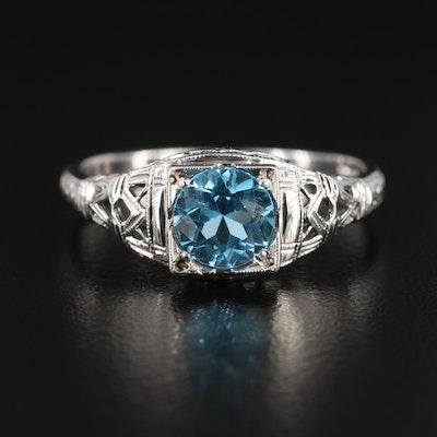 Art Deco 18K White Gold Topaz Ring