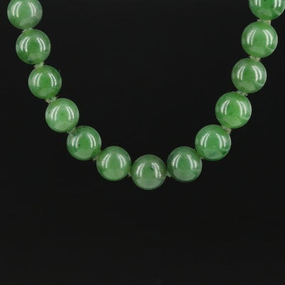 Vintage Sterling Silver Nephrite Necklace