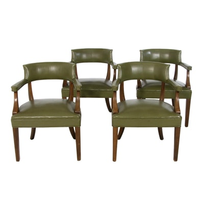 Set of Four Boling Chair Company Leatherette Barrel Back Armchair, Mid-20th C.