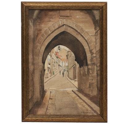 "Marguerite Van Biesbroeck Watercolor Painting ""Porte du Jersual"""