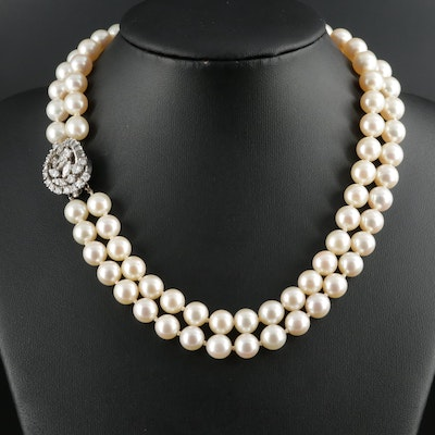 Cultured Pearl and 2.07 CTW Diamond Necklace with 14K White Gold Accents