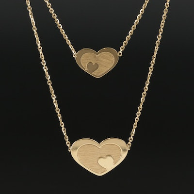 18K Yellow Gold Double Heart Layered Necklace