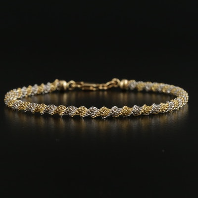 18K Yellow and White Gold Fancy Link Bracelet