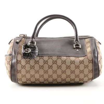 Gucci GG Canvas and Leather Small Trophy Tote Handbag