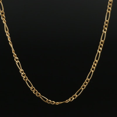 14K Yellow Gold Figaro Chocker Necklace