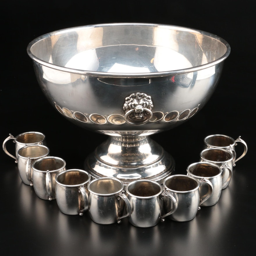Silver Plate Punch Bowl and Cups with 1970 Personalized Engraving