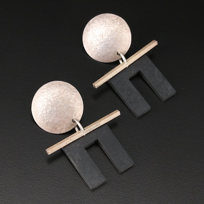 Sterling Silver and Imitation Jet Earrings