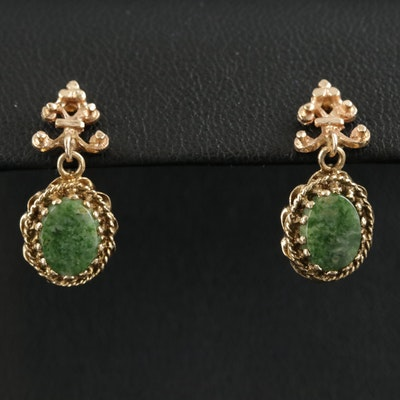 14K Yellow Gold Serpentine Earrings