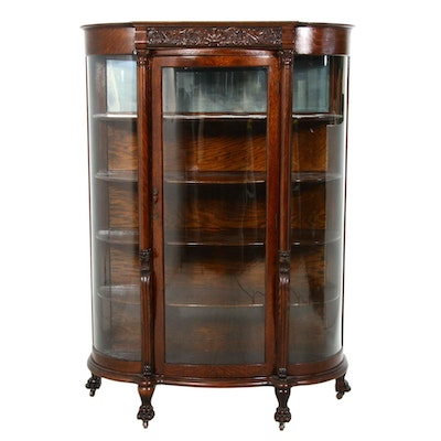 Late Victorian Oak Bowfront Display Cabinet, Circa 1900