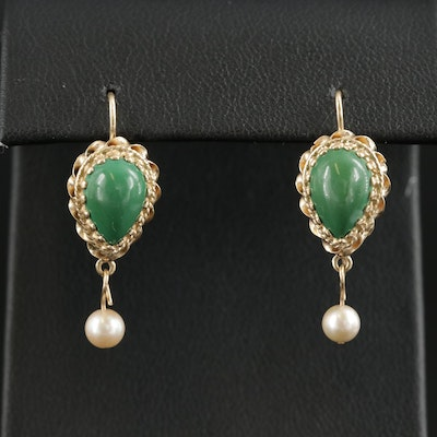 14K Gold Green Turquoise and Cultured Pearl Earrings