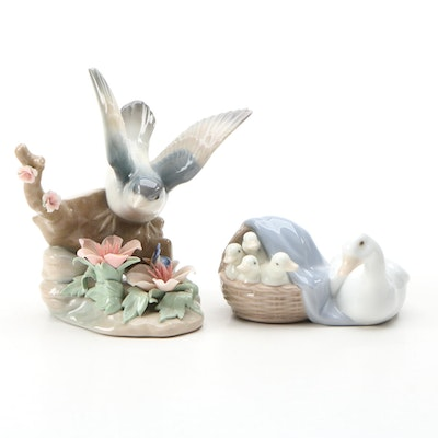 "Lladró ""Ducklings"" and ""Bird with Butterfly"" Porcelain Figurines"