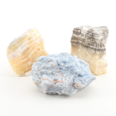 Banded and Blue Calcite Mineral Specimens