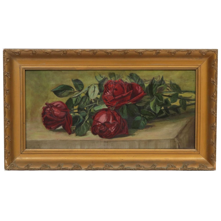 American School Still Life with Roses Oil Painting, Late 19th Century