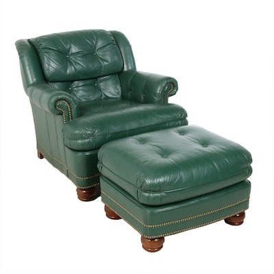 Drexel-Heritage Green Leather Armchair and Ottoman, Late 20th Century