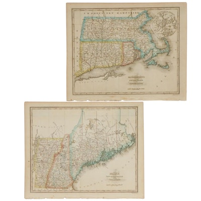 Engraved Maps of New England from Samuel Morse Atlas, 1825