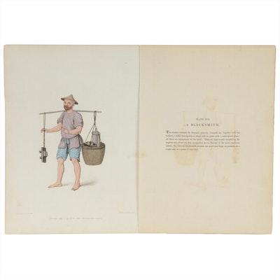 """Hand Colored Engraving """"The Blacksmith"""" after Pu-Qua, circa 1820"""
