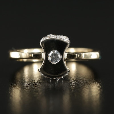 14K Yellow Gold Cubic Zirconia Ring with White Gold Accent