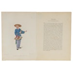 """Hand-Colored Engraving """"The Apothecary"""" after Pu-Qua, circa 1820"""