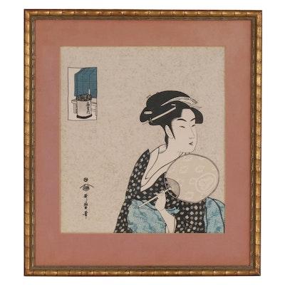 """Photomechanical Print on Silk after Kitagawa Utamaro """"The Beauty Ohisa"""""""