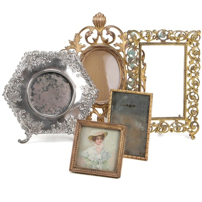 Victorian Repousse and Brass Picture Frames, Late 19th Century