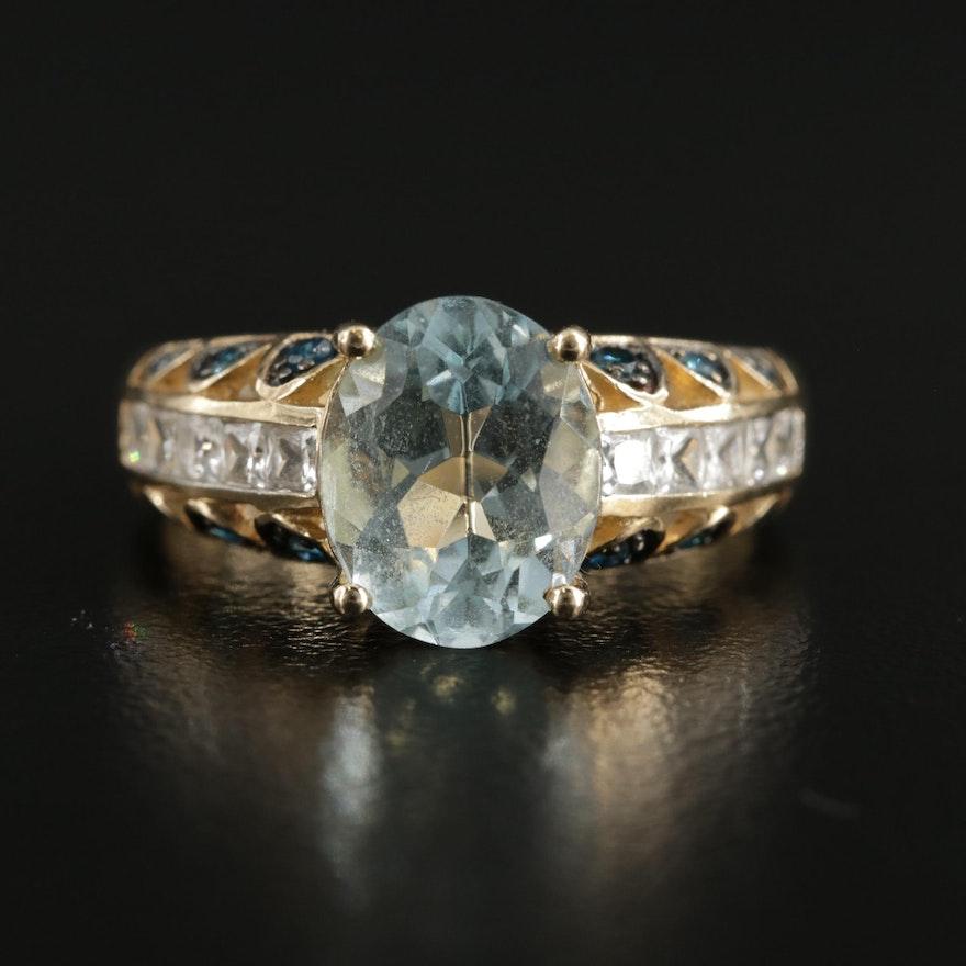 10K Yellow Gold Aquamarine, Blue Topaz and Sapphire Ring