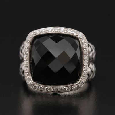 Scott Kay Sterling Silver Black Onyx and Diamond Basket Weave Ring