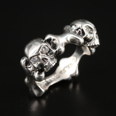 Stephan Webster Skull and Bones Sterling Silver Diamond Ring