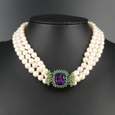 18K Gold 12.87 CT Amethyst, Emerald, Spinel Triplet and Pearl Necklace