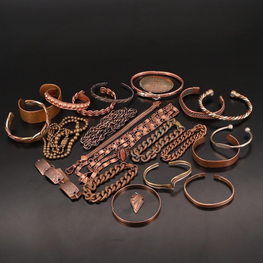 Vintage and Southwestern Style Copper Jewelry Assortment