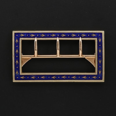 1880s Late Victorian 14K Yellow Gold  Champlevé Enamel Belt Buckle