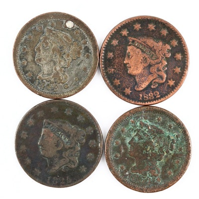 Two Matron Head and Two Braided Hair Large Cents