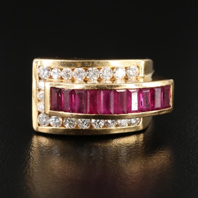 Charles Krypell 18K Yellow Gold Ruby and Diamond Ring