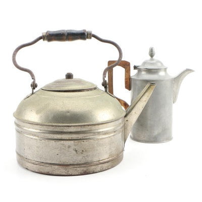 Majestic Tin Tea Kettle and Pewter Coffee Pot, Vintage