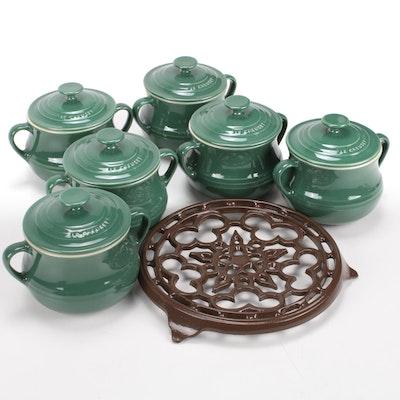 Le Creuset Dark Green Individual Mini Bean Pot Set and Enameled Brown Trivet