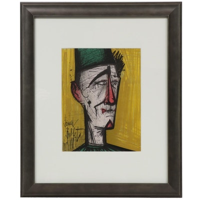 """Bernard Buffet Color Lithograph """"JoJo the Clown,"""" 1967"""