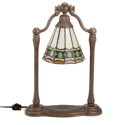 Tiffany Style Leaded Stained Glass Banker's Lamp