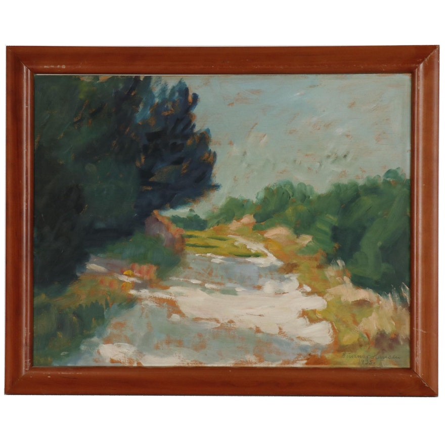 Attributed to Gunnar Christian Hansen Landscape Oil Painting, 1935