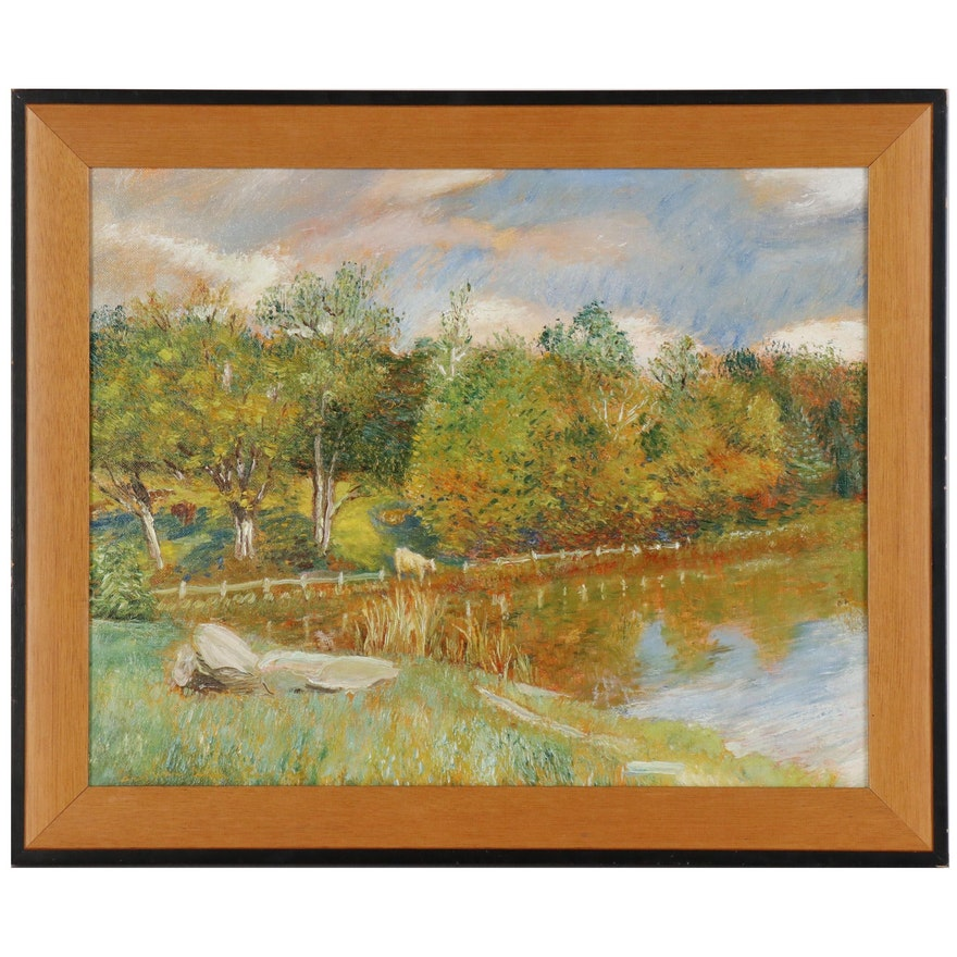 Caroline Ann Steward Pastoral Landscape Oil Painting