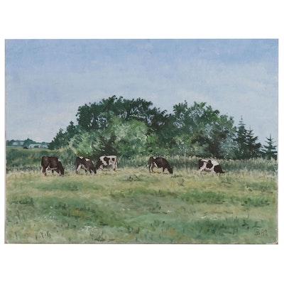 Pastoral Landscape Oil Painting, 1982