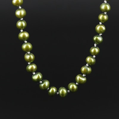 10K Yellow Gold Cultured Pearl Beaded Necklace