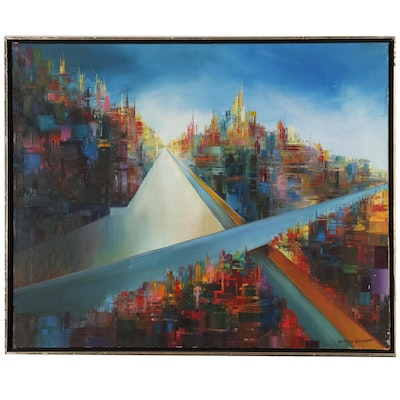 Martin Rolland Abstract Cityscape Oil Painting, Mid 20th Century