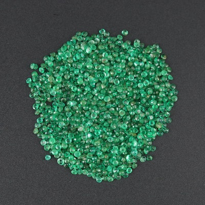 Loose 14.46 CTW Round Faceted Emerald Gemstones