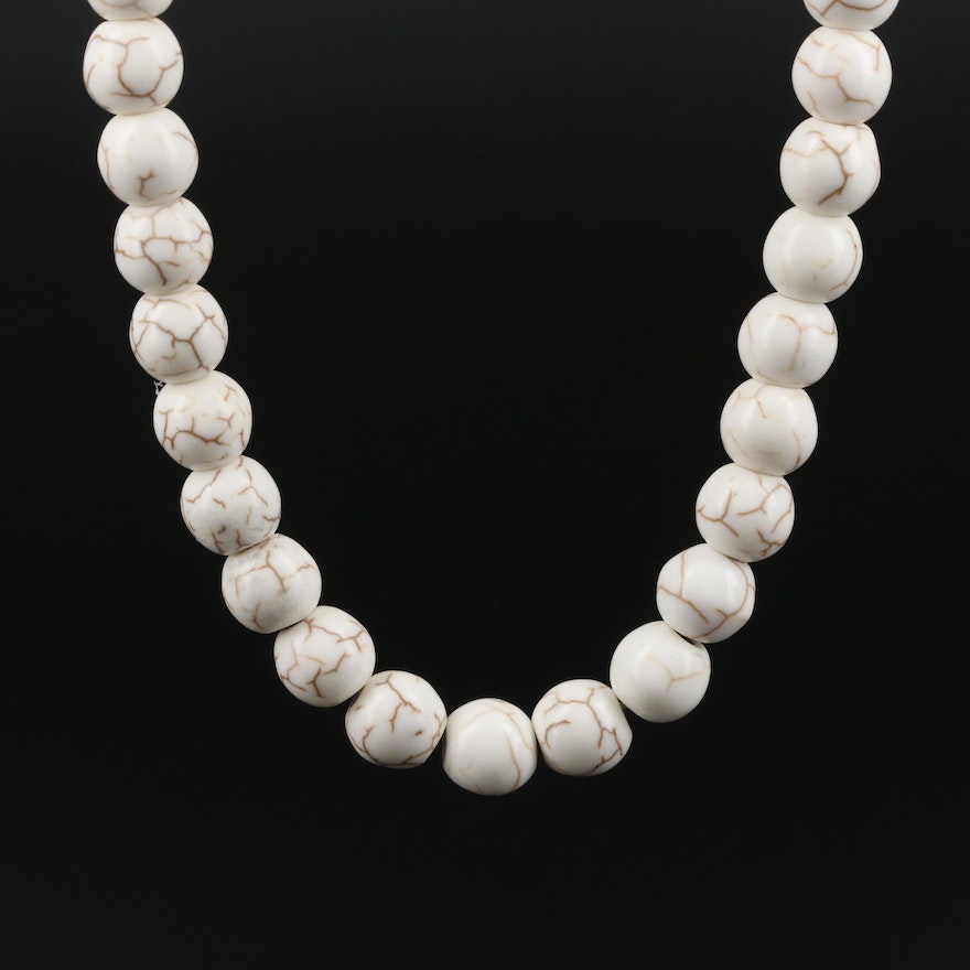 10K and 14K Yellow Gold Howlite Beaded Necklace