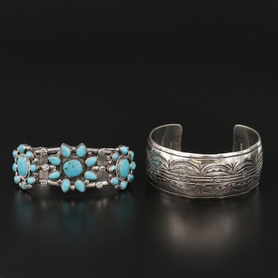 Southwestern Style Sterling Silver and Turqouise Cuff Bracelets