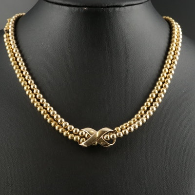14K Yellow Gold Infinity Slide Pendant on Beaded Chain Necklace