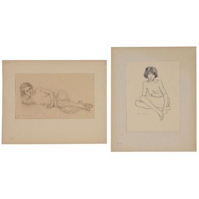 Benjamin Miller Nude Figural Charcoal Drawings
