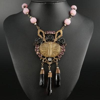 Glass Art Nouveau Style Necklace
