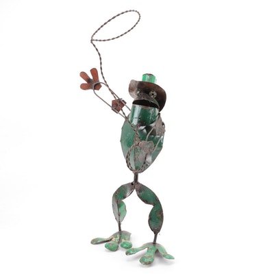 Mexican Folk Art Scrap Metal Cowboy Frog Sculpture