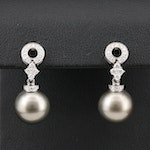 18K White Gold Pearl and Diamond Drop Earrings